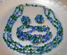 Vintage Vogue 3 Strand Blue Green Aspirin Crystal Necklace Earrings Bracelet Set