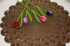 HANDMADE Glass Beaded Antique gold, bronze and purple Placemats