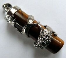 **TIGER EYE CYLINDER & DRAGON PENDANT WITH WAXED CORD NECKLACE**