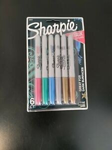 Sharpie Metallic Permanent Markers, Fine Point, Assorted Colors, 6-Count
