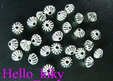 300Pcs  Tibetan silver conrrugated bicone spacer beads A300
