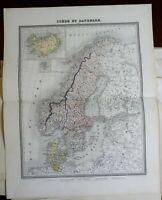 Scandinavia Denmark Sweden Norway Iceland Faroe Islands 1858 Furne map