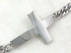 Stainless Steel 18k Gold Silver Simple Sideways Jesus Cross Cuban ID Bracelet