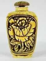 Fine Bone Hand Deep Carved Flower Snuff Bottle,Chinese Handicraft