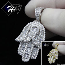 925 STERLING SILVER ICY BAGUETTE DIAMOND SILVER/GOLD HAMSA HAND PENDANT*SP278