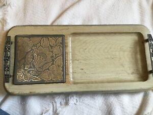 Vtg look Cheese-trayb Solid Piece  Wood W/metal Trim & Handles