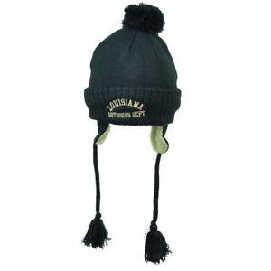 Lousiana State Knit Beanie Winter Navy Blue Peruvian Hat USA Pom Pom Tassel