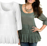 Ladies White / Green Cotton Top UK Sizes 6 - 16 Light Summer Frill Tunic Plus