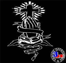Cross Praying Hands Heart Vines Car Window Vinyl Bumper Sticker Decal