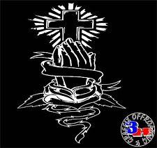 Cross Praying Hands Heart Vines Car Window Vinyl Bumper Sticker Decal
