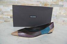 Dolce & Gabbana Gr 38,5 Mocasines Zapatos Bailarinas Serpiente Reptil NUEVO
