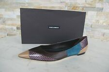 Dolce & Gabbana Tg. 38,5 Pantofola Ballerine Scarpe Serpente Rettile Nuovo