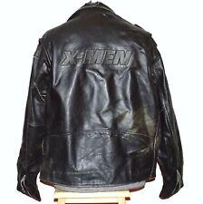 X-Men Distressed Leather Jacket Zipped Men Black Sz 54 Unik Apparel Marvel 2000