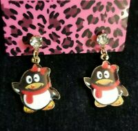 New Betsey Johnson Red Enamel Cute Penguin Girl Bow Crystal Women Stand Earrings
