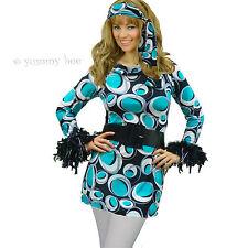 Yummy Bee Hippy Disco Mod Plus Size 8 - 16 Fancy Dress Costume 60s 70s Ladies FL