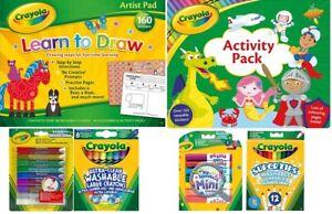 NEW Crayola Crayons Mini Markers Supertips, Glitter Glue, Art Pad, Activity Pack