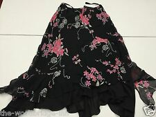 BNWT FLORENCE + FRED SIZE 8 BLACK/PINK FLORAL LADIES LINED SKIRT 7T