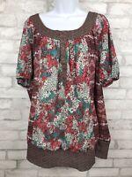 Lane Bryant Pullover Prairie Floral Shirt Short Sleeve Pink Brown Plus 26/28