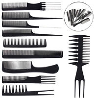 10pcs Salon Hair Styling Comb Set Professional Black Hairdressing Brush Barber