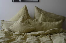 Bed Linen Set, Stone Washed, Green, 155x 220 cm 80x 80 cm