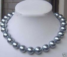 """8mm Silver Gray SEA SHELL PEARL NECKLACE 18""""AAA PN302"""