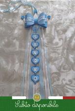 Fiocco nascita coccarda neonato principino personaliz. azzurro 18xlunghezza nome