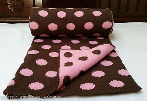 Rochdale Boutique 100% Pure Cotton Knit Baby Blanket / Shawl Pink Brown Knitted