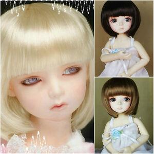 "3-Wig Set 7-8"" Brown/Dark Brown/Blonde BOB wigs for 1/4 MSD BJD Doll SD"