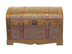 Round Top Medium Victorian Wood Storage Trunk Wooden Chest