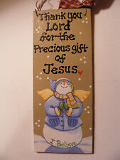 "SNOWMAN SIGN: ""THANK YOU LORD FOR THE GIFT OF JESUS 3X7"" HANDPAINTED SIGN"