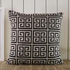 45*45cm Vintage Black Geometric Greek Key Square Linen Cotton Cushion Cover