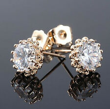 Elegant Top Quality White Zircon & 18k Gold Plated CZ Studs Earrings E321