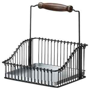 FINTORP Wire basket with handle, black brand new