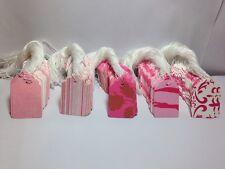 """100 Pink Designer Print #5 Merchandise Price Tags PreStrung 1-1/16""""x1-5/8"""""""