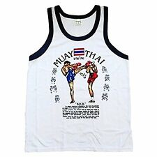 Muay Thai Boxing Singlet Vest Top White/Navy size M **UK STOCK**