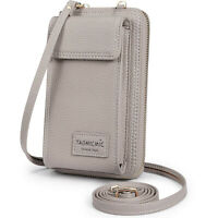Gray Cross-body Cellphone Bag Metal Buckle PU Leather Cellphone Card Wallet Bag