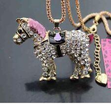 Betsey Johnson HORSE PONY CRYSTALS Necklace Pink Black Horse Pony