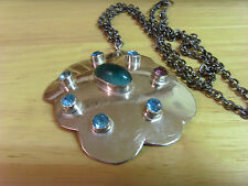 VINTAGE OLD STOCK TURKISH OTTOMAN ANATOLIAN SILVER AND MULTI COLOR NECKLACE, D