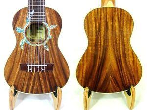 Alulu Solid Acacia Koa Tenor Guitarlele,Turtle Abalone Rosette, Hard Case HU1267