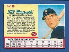 1962 Post Cereal #170 Bill Mazeroski HOF Pittsburgh Pirates Additional ship free