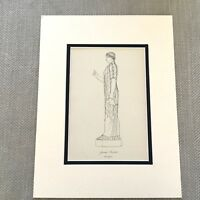 1900 Antico Stampa Storico Costume Antico Greco High Priestess Dea Statua