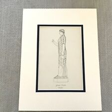 Antique Print Historical Costume Ancient Greek High Priestess Godess Statue