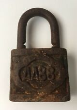 Vintage Old Collectible Solid Iron Made AA88  Engraved Padlock Without Key Rusty