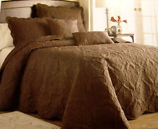 Twin - Victoria Classics - Genevieve Brown Quilted PILLOW SHAM & BEDSPREAD SET