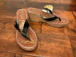 "Sam Edelman ""Romy"" Black Patent Leather Cork Wedge Thong Sandals, Size 8.5 (US)"