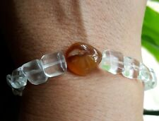 """Healing Energy Azeztulite & Amber Crystal Nugget Faceted Square Bracelet  7.5"""""""