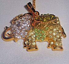 Multi Green & Clear Rhinestone Gold Tone Elephant Pendant Necklace w/ chain