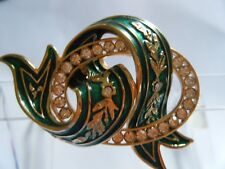 Joan River Gold Pin emerald green enamel ribbon over oval ring w clear crystals