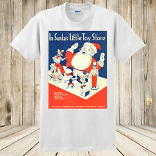 New In Santa's Little Toy Store Christmas Tshirt Vintage Art Mickey Mouse Shirt