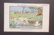 Carte postale Benjamin Rabier. Les Sports.  Natation. Planche 12